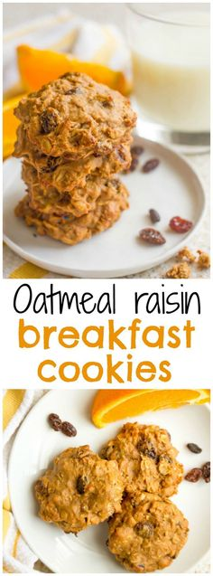 Oatmeal Raisin Breakfast Cookies ~ Wholesome oatmeal raisin breakfast cookies that are 100% whole grain and naturally sweetened