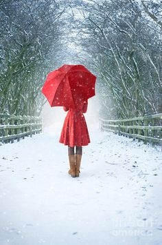girl with red umbrella in snow | Woman With Red Umbrella In Snow by Lee Avison