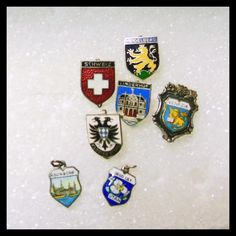 Group Of Enamel Travel PIns and 2 Travel Charms