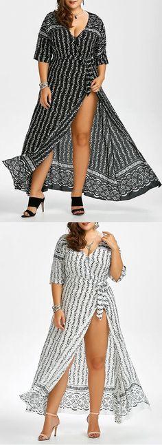 $10.92 Floral Floor Length Plus Size Knot Wrap Dress