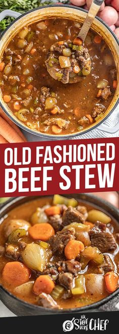 This Old Fashioned Beef Stew is pure comfort in a bowl with tender beef hearty vegetables and all the right herbs and spicesits the best! The post Old Fashioned Beef Stew appeared first on Tasty Recipes. Meat Recipes, Slow Cooker Recipes, Crockpot Recipes, Dinner Recipes, Cooking Recipes, Healthy Recipes, Recipes Using Stew Beef, Meatball Recipes, Cooking Ideas