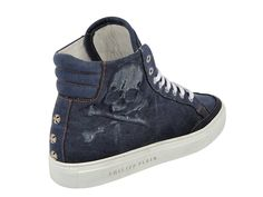 (8) Mens Denim Casual Sneakers Vintage Skull High Neck Embossed Side Skull & Three Starstones - Philipp Plein 2013 Spring Summer Denim Shoes Top Footwear Picks