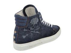 (8) Mens Denim Casual Sneakers Vintage Skull High Neck Embossed Side Skull & Three Starstones - Philipp Plein 2013 Spring Summer Denim Shoes Top Footwear Picks