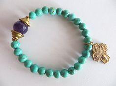 Turquoise and Amethyst Energy Bracelet Gemstone by TuscanRoad