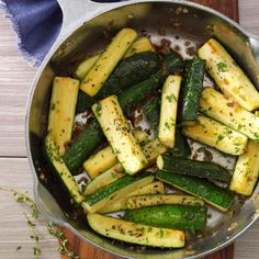 Simple and flavorful, this recipe is a tasty and healthy way to use up all those zucchini that are taking over your garden. It's ready in no time! —Bobby Taylor, Ulster Park, New York | Thymed Zucchini Saute Recipe from Taste of Home