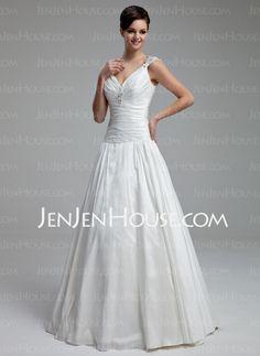 Ligne-A/Princesse Col V Longeur au sol Taffetas Robe de Mariée avec Ondulé Dentelle Perlé (002012805) - JenJenHouse