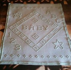 ABC 123 Baby In a diamond crib afghan. This pattern comes with a graph for OUR GIRL..OUR BOY and 1 that says BABY. A great pattern to keep on hand.