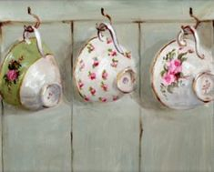 Print from Gail McCormack painting Tea Cup Art, Tea Cups, Tee Kunst, Shabby Flowers, Rose Cottage, My Tea, Vintage Tea, Tea Time, Stencil