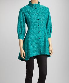 Take a look at this Green & Black Geometric Floral Lace Sidetail Top by Come N See on #zulily today!