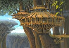 A tree-house concept art by Ralph McQuarrie used in The Star Wars Holiday Special Fantasy Places, Sci Fi Fantasy, Star Wars Holiday Special, Cool Tree Houses, Tree House Designs, Star Wars Concept Art, Ralph Mcquarrie, Fantasy Landscape, In The Tree