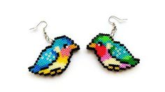 Bird Earrings - Mini Perler Beads, Mini Hama Beads, Gifts for Bird Lovers, Hook or Clip-On, Perler Birds, Pixel Jewelry