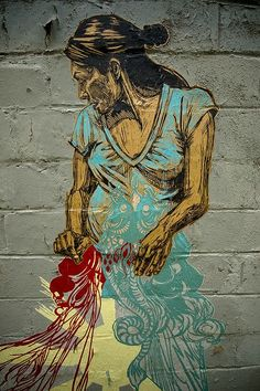 Swoon - Street Art, i really like how bold and bright these images are, and that swoon uses woodcut as her primary inspiration.