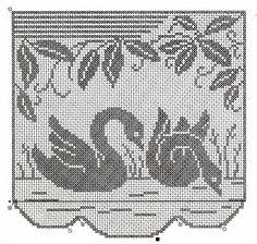 Cisnes en cortinas de ganchillo Gráfico 3                              …