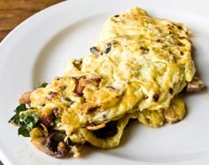 spinach mushroom and turkey bacon egg white omelette