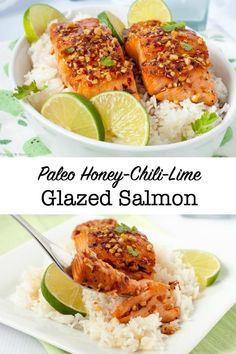 You only need 4 ingredients that you probably have on hand to make the glaze for this sweet and tangy Honey Chili Lime Glazed Salmon. Cooks in 15 minutes! Crockpot Salmon Recipe, Wild Salmon Recipe, Salmon Salad Recipes, Healthy Salmon Recipes, Seafood Recipes, Vegetarian Recipes, Healthy Foods, Healthy Eating, Paleo Meals