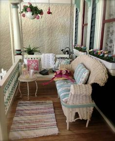 this doll house porch is my dream porch...hey Wanda, can you build this for me? I wont ask for anything else...ever!