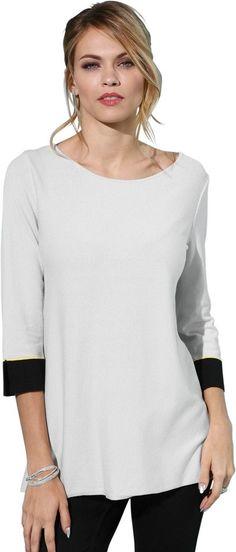 Création L Pullover im lässigen Vokuhila-Style ab 39,99€. Kontrastreich inszenierter Pullover, Viskose, Polyamid bei OTTO