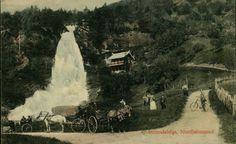 Hordaland fylke Kvam kommune  Norheimsund. Steindalsfos. Farger, fint med folk, hester og vogner. Utg A.J. Stemplet 1909