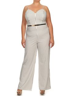 f9f759597f7 Plus Size Sexy Striped Wide Leg Belted White Jumpsuit – PLUSSIZEFIX Plus  Size Romper