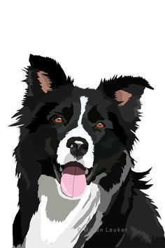 border collie by Maaira on DeviantArt Animal Paintings, Animal Drawings, Cute Drawings, Art And Illustration, Vector Illustrations, Border Collie Art, Collie Dog, Dog Portraits, Dog Art