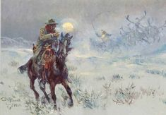 """Featured: Art Spur """"Seein' Santa"""" by Charles M. Russell Cowboy Poetry at the BAR-D Ranch"""