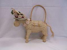 Vint Wicker Figural Daisy Straw Hat Donkey Purse Handbag a Collection Listed Now #UnbrandedbutPossiblyLSkalnyBasketCo #Figural