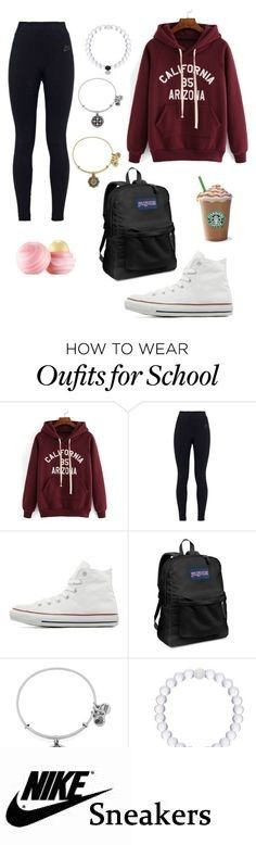 Peace out!!!!✌✌going to school by mira-81k on Polyvore featuring NIKE, Converse, Eos, JanSport and Alex and Ani