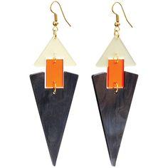 Toolally statement earrings - Diamond Drop smokey marble