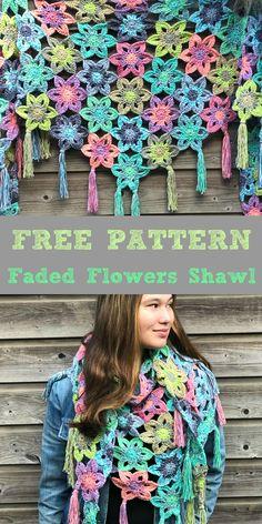 FREE CROCHET PATTERN Faded Flowers Shawl Cute Crochet, Crochet Crafts, Crochet Tops, Crochet Scarves, Crochet Shawl, Sewing Toys, Free Pattern, Crochet Necklace, Crochet Patterns