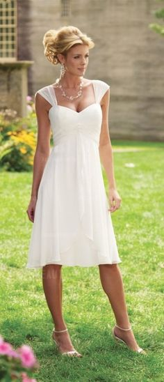 Only $87.99! >>> 75% OFF NOW! Be gorgeous and sexy with A-Line Princess Straps Knee-length Chiffon Wedding Dress! See at http://www.cutedresses.co/product/a-line-princess-straps-knee-length-chiffon-wedding-dress/