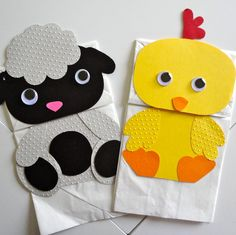 Lamb and Chick paper bag puppets