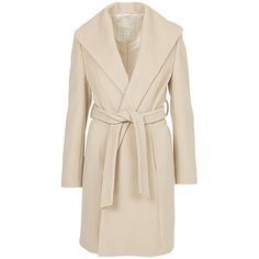 Betty Barclay Belted Wrap Front Coat, Natural Melange (1.305 RON) ❤ liked on Polyvore featuring outerwear, coats, pink coat, belted wrap coat, betty barclay, long sleeve coat and tie belt
