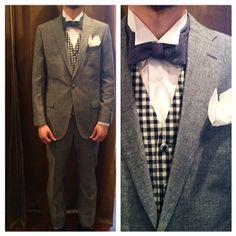 suit:ブルーコットンリネン vest:ギンガムチェック bowtie:ライトオンスデニム  #新郎#カジュアルウエディング