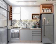 One Wall Kitchen, Kitchen Room Design, Kitchen Cabinet Design, Home Decor Kitchen, Interior Design Kitchen, Kitchen Furniture, New Kitchen, Home Kitchens, Small Apartment Kitchen