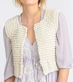 Knitting pattern for Lanesboro Vest in super bulky yarn - A fabulous quick-to-knit cropped vest that's a quick knit in super bulky yarn.