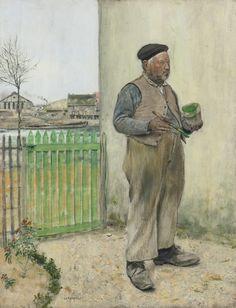 BONHOMME VENANT DE PEINDRE SA BARRIÈRE (MAN HAVING JUST PAINTED HIS FENCE) by JEAN-FRANÇOIS RAFFAËLLI (FRENCH 1850 - 1924)