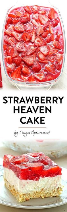Bake Strawberry Heaven Cake a quick and easy dessert that you can take on your next picnic or to your family reunion or BBQ.a quick and easy dessert that you can take on your next picnic or to your family reunion or BBQ. Easy Desserts, Delicious Desserts, Yummy Food, Baking Recipes, Cake Recipes, Dessert Recipes, Food Cakes, Cupcake Cakes, Cupcakes