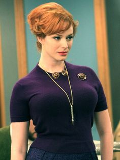 Mad Men Style: The Sweater. No one looks better in a sweater than Joan Holloway. http://www.ivillage.com/mad-men-style-dress-joan-holloway/5-b-107451#107456