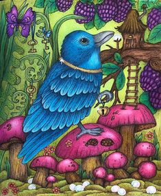 Mr Blue, the magpie who collects old trinkets, is from the wonderful book Fairy Miracles by Klara Markova Joining… Markova, Mushroom Art, Up Book, Pencil And Paper, Colouring Techniques, Beautiful Fairies, Coloring Book Pages, Magpie, Adult Coloring