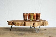 Hip Farmhouse Home Decor Collection Raw Edged Wood Slab Small Stand/Table with Metal Feet — White Owl & Company