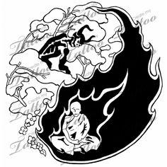 Yin-Yang tattoo design by JoshuaSylvia on DeviantArt Unique Tattoos, New Tattoos, Create My Tattoo, Yin Yang Art, Yin Yang Tattoos, Name Tattoo Designs, Word Tattoos, Tatoos, Good And Evil