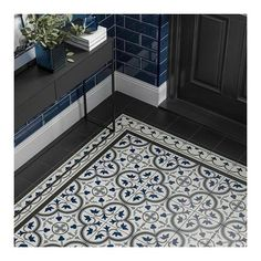 Pamplona Black, White & Blue Pattern 200x200 | Tile Giant
