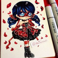 Chibi of Marinette from Miraculous Ladybug in a lolita-style dress =D Chibi Kawaii, Cute Anime Chibi, Kawaii Art, Kawaii Anime, Puppet Anime, Kawaii Drawings, Cute Drawings, Copic Marker Art, Creation Art