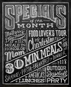 HandLettering...i really want to put a chalkboard in a beautiful frame and handletter all the specials on them in pretty stylish writting