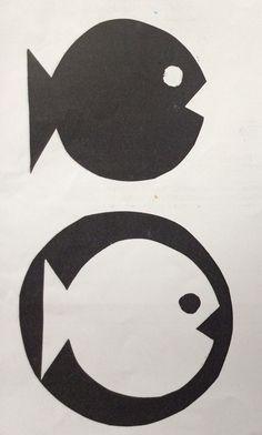 Positive and Negative Fish. Positive And Negative, Black Paper, Primary School, Students, Kids Rugs, Positivity, Symbols, Artwork, Paper