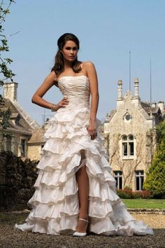 Captivating A-line Wedding Dress with Tiered Ruffles