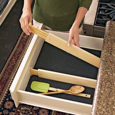 Expandable Drawer Dividers - organize drawers with custom-fit dividers that tame clutter. Utensils and cooking gadgets will be easy to find when your drawers are organized. Just put these wood dividers in place to create customized storage. Stronger and better looking than plastic trays, they hold tight with hidden springs and nonslip rubber ends.