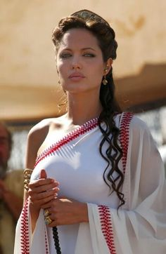 Angelina jolie looks sexy in a white saree with red border