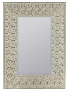 Ashley Mirror Cream Finish with Rose Highlights; Beveled Mirror