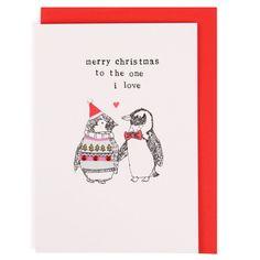 One I love penguins Christmas card